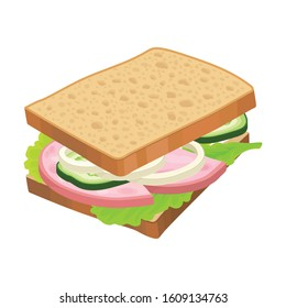 Realistic Sandwich with Lettuce and Wurst Vector Food Item. Fast Food Concept