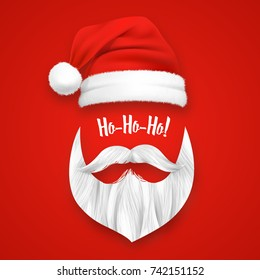 Realistic Santa Claus Christmas mask on red background isolated vector illustration