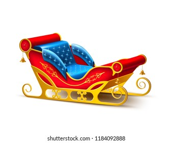Realistic santa claus sleigh. Merry christmas and happy new year winter holidays decoration design element. 3d golden, blue red color sled for reindeer sledding. Traditional seasonal Vector object.