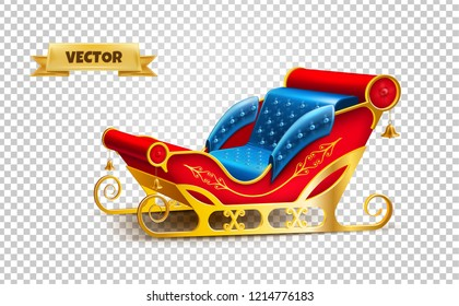 Realistic santa claus sleigh. Merry christmas and happy new year winter holidays decoration design. 3d golden sled for reindeer sledding. Traditional seasonal Vector on transparent background