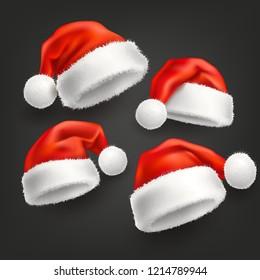 Realistic santa hat, cap set. Merry Christmas holiday, new year headdress for winter xmas celebration decoration. Traditional fancy 3d costume for december seasonal design. Vector illustration