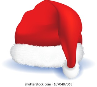 Realistic santa hat vector -  a shaped covering for the head worn for warmth, as a fashion item, or as part of a uniform.