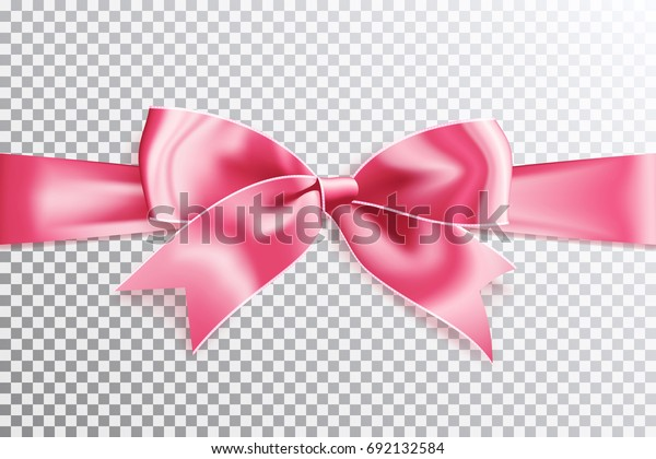 Realistic satin pink bow knot on ribbon. Vector illustration icon isolated.