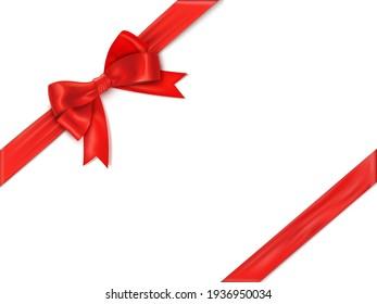 Realistic satin ribbon on white background. Festive border template Christmas symbol.
