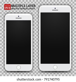 Realistic Scale of Big and Small Smartphone Isolated on Background. White Color. Front View For Print, Web, Application. High Detailed Device Mockup Separate Groups and Layers. Easily Editable Vector.