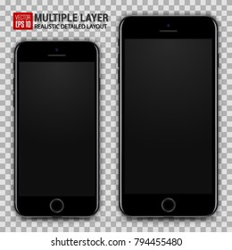 Realistic Scale of Big and Small Smartphone Isolated. Jet Black Color. Front View For Print, Web, Application. High Detailed Device Mockup Separate Groups and Layers. Easily Editable Vector.