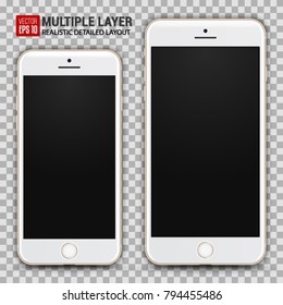 Realistic Scale of Big and Small Smartphone Isolated on Background. Gold Color. Front View For Print, Web, Application. High Detailed Device Mockup Separate Groups and Layers. Easily Editable Vector.