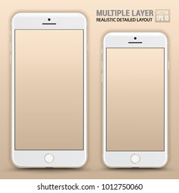 Realistic Scale of Standard Smartphone and Phone Plus Isolated on Gold Background. Front View For Web, Application. High Detailed Device Mockup Separate Groups and Layers. Easily Editable Vector.