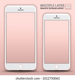 Realistic Scale of Standard Smartphone and Phone Plus Isolated on Rosegold Background. Front View For Web, Application. High Detailed Device Mockup Separate Groups and Layers. Easily Editable Vector.