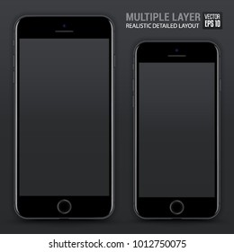 Realistic Scale of Standard Smartphone and Phone Plus Isolated on Black / Silverstone / Dark Grey Background. Front View. High Detailed Device Mockup Separate Groups and Layers. Easily Editable Vector