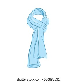 Realistic scarf. Women's fashion accessories. The blue object isolated on white background. Vector cartoon illustration in hand drawing style for your design. EPS10 format.