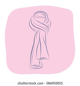 Realistic scarf. Women's fashion accessories. Contour object on a pink background. Vector sketch illustration in hand drawing style for your design. EPS10 format.