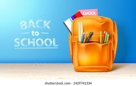 Realistic school bag with stationery. Back to school ad poster template. Orange college students backpack. Vector equipment with pencils and pen.