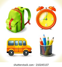 Realistic school supplies education icons set of backpack bus pencil alarm clock isolated vector illustration