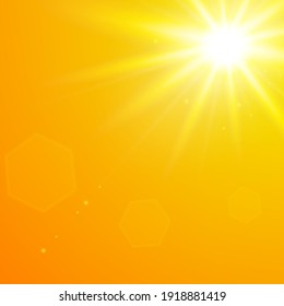 Realistic scorching yellow sun against an orange sky. Vector background of daytime sunny desert sky.