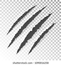Realistic scratch claws of animal. Hole in sheet of paper with torn edges. Vector illustration isolated on transparent background