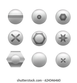 Realistic Screw, Nuts and Bolt Cap or Head Icon Set Different Shapes Detailed Construction Hardware Equipment Stainless. Vector illustration
