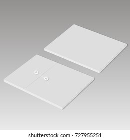 Realistic sealed envelope mock up. Back and top view. Vector
