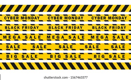 Realistic Seamless attention SALE yellow black diagonal stripes tape. Safety danger ribbon signs.Warn Caution symbol.  Mega sale, black Friday, cyber Monday. Isolated on white background.