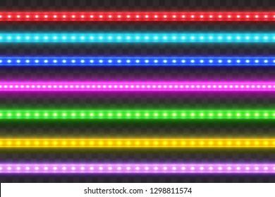 Realistic seamless LED colorful  strip  set. Decoration illuminated tape. Glow light effect. .Glowing neon effect.