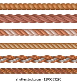 Realistic seamless rope and nautical cables vector set isolated on white background