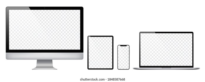 Realistic set of 2020 new design thin frame Computer monitor, laptop, tablet, smart phone - Eps 10 Vector template mock up.