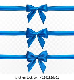 Realistic set of blue bow. Element for decoration gifts, greetings, holidays. Vector illustration.