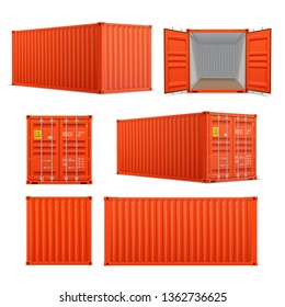 Realistic set of bright red cargo containers.   Front, side back and perspective view.  Open and closed. Delivery, transportation, shipping freight transportation.