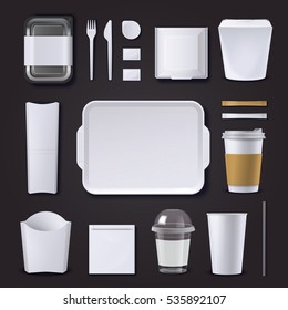 Realistic set of burger bar packaging from plastic and paper on black background isolated vector illustration