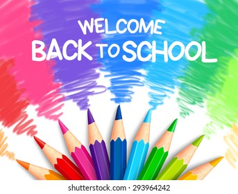 Realistic Set of Colorful Colored Pencils or Crayons with Multicolored Brush Strokes Background in Back to School Title. Vector Illustration
