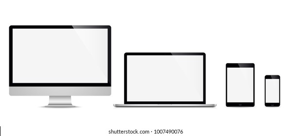 Realistic set computer, laptop, tablet, phone on a isolated background. Vector illustration