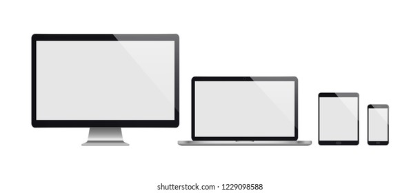 Realistic set of computer, laptop, tablet and smartphone. Realistic illustration.