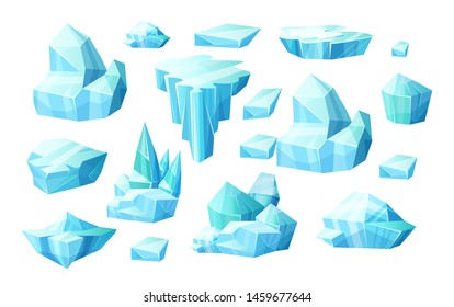 Realistic set of crystals of ice, iceberg broken pieces of ice, icicles, cold frozen blocks ice, winter landscape for game design cartoon vector illustration