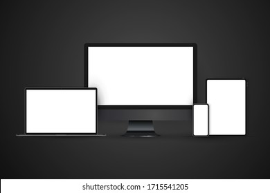 Realistic set of devices mockups with monitor, laptop, tablet, smartphone. Dark theme.