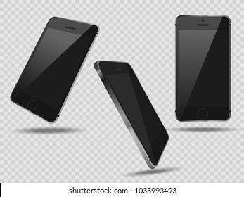 Realistic set mobiles smartphone on transparent background, black 3d realistic smart phone in different angles