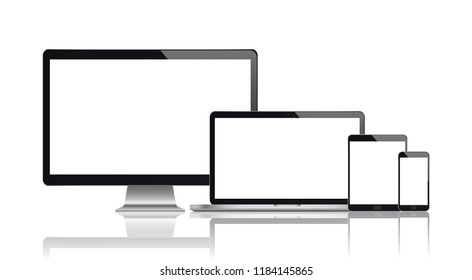 Realistic set of monitor, laptop, tablet, smartphone. Vector illustration. eps10