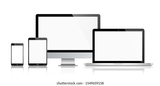 Realistic set of monitor, laptop, tablet, smartphone with shadow vector illustration. EPS 10