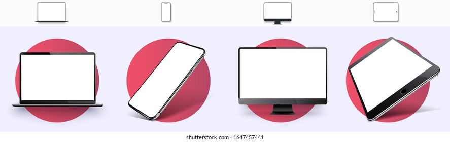 Realistic set of Monitor, laptop, tablet, smartphone, rotated position. Side and top view. Mockup generic device. Template for infographics or presentation. Vector illustration