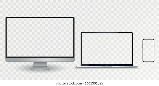 Realistic set of Monitor, laptop, tablet and smartphone