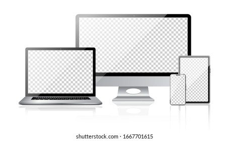Realistic set of monitor, laptop, tablet, smartphone with transparent screen. Tablet gadget template, pc laptop mobile devices mockup. Vector isolated device screen