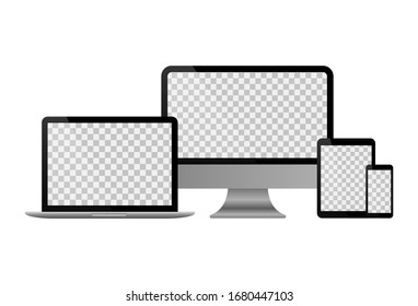 Realistic set of monitor, laptop, tablet and smartphone. Vector collection of modern digital devices. Vector EPS10 illustration.