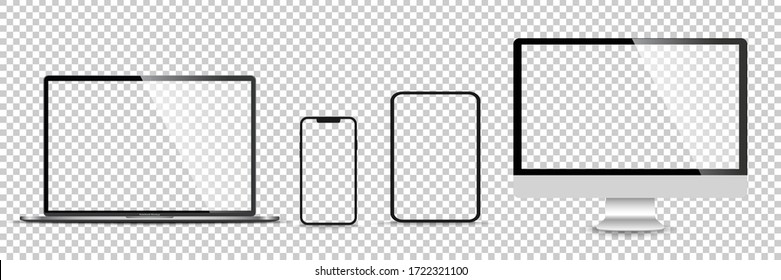 Realistic set of monitor, laptop, tablet, smartphone - Stock Vector illustration.