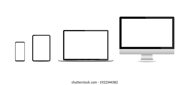 Realistic set of PC monitor, laptop, tablet and smartphone isolated on white background. Vector illustration EPS 10