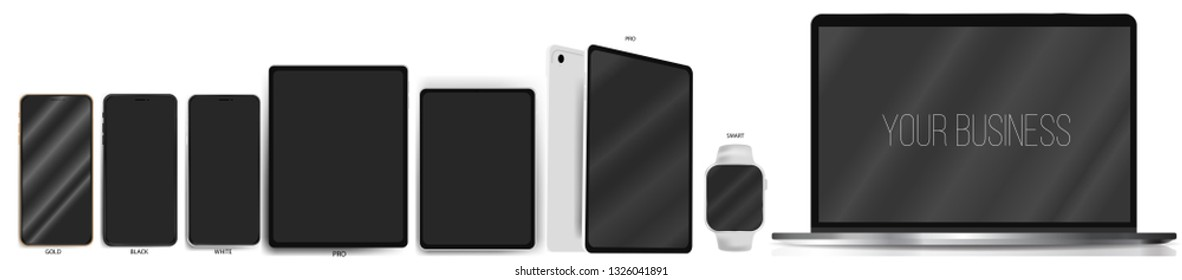 Realistic set of popular gadgets: phones, tablets, smart watches, laptop, computer.Digital gadget. Your business. Apple devices.