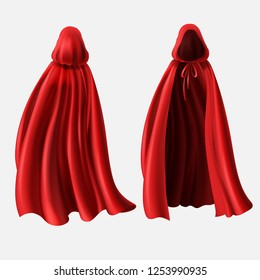 Realistic set of red cloaks with hoods isolated on white background.