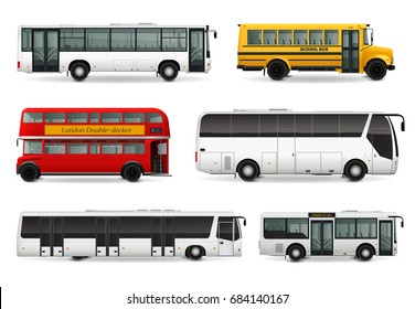 Realistic set with school bus modern urban and touristic transport london double decker vehicle isolated vector illustration