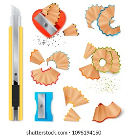Realistic set of stationery with sharpener knife for pencils sharpening and shavings isolated icons on white background vector illustration