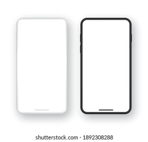 Realistic set of template black and white smartphone with blank screen. Mockup mobile phone with empty display. Vector