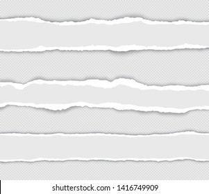 Realistic set torn paper edges with shadow on transparent background - stock vector.