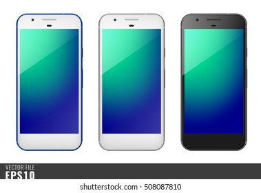 Realistic set vector illustration mock-up of modern generation smart-phone google pixel. Isolated on white, transparent background, layered, just put image on content layer. Scale vector image.